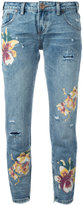 One Teaspoon orchid print distressed cropped jeans - women - Cotton - 25