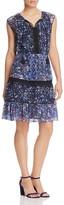 T Tahari Giselle Lace Trim Mixed Floral Peasant Dress