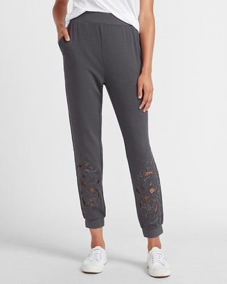 Express Super High Waisted Metallic Embroidered Jogger Pant