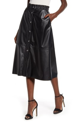 Blank NYC BLANKNYC Snap Front Faux Leather Midi Skirt