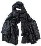 Black Swarovski Crystal Scattered Wrap in Cashmere and Silk