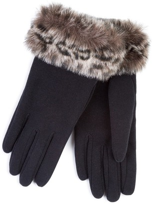 totes Isotoner Ladies Thermal Glove with Faux Fur Cuff Black