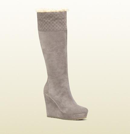 Gucci Courteney Shearling Trim Tall Platform Wedge Boot