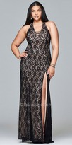 Faviana Lace Fit and Flare Halter Top Plus Size Prom Dress
