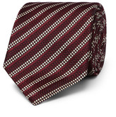 Dunhill 8cm Striped Woven Mulberry Silk Tie