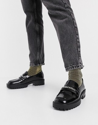 London Rebel square toe chunky loafer with chain in black