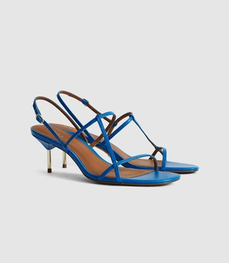 Reiss Ophelia - Leather Strappy Kitten Heels in Blue