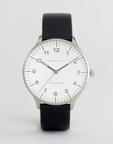 Newgate Blip Black Leather Watch With Cream Dial