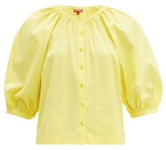 STAUD Dill Balloon-sleeved Cotton-blend Top - Womens - Light Yellow