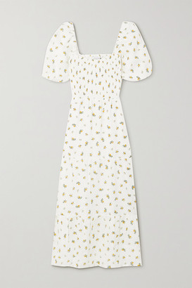 Faithfull The Brand Net Sustain Gianna Shirred Tiered Floral-print Linen Midi Dress - White
