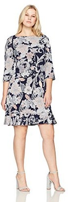 Sandra Darren Women's 1 Pc Plus Size 3/4 Sleeve Puff Shift with Flounce Dress