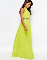 Forever Unique High Neck Pleated Maxi Dress