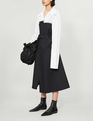 Daniel Pollitt Obi strapless wool-twill midi dress