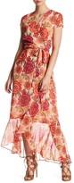 Taylor 9044MJ Floral Print Faux Wrap Dress