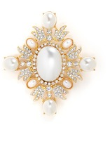Kenneth Jay Lane Glass crystal and pearl brooch