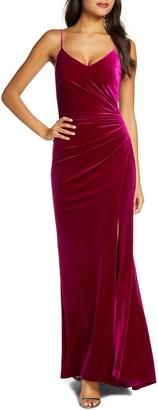 Vince Camuto Ruched Side Slit Velvet Evening Gown