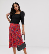Y.A.S button down paisley print midi skirt