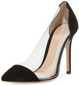 Gianvito Rossi Velvet Cap-Toe Illusion Pump, Black
