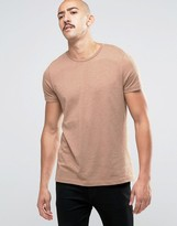 Asos T-Shirt With Crew Neck In Brown Marl