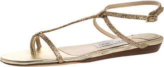 Jimmy Choo Gold Glitter Fabric Fiona T Strap Flat Sandals Size 36