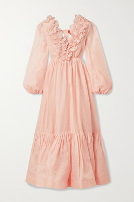Zimmermann The Lovestruck Garland Appliqued Linen And Silk-blend Midi Dress - Peach