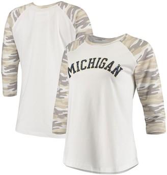 Women's White/Camo Michigan Wolverines Boyfriend Baseball Raglan 3/4 Sleeve T-Shirt