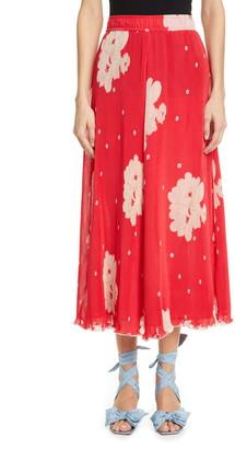 Ganni Floral Plisse Pleated Georgette Skirt