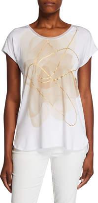 Joan Vass Foiled Drop-Shoulder Wide-Neck Tee