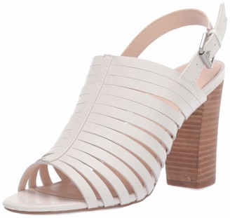 Tahari Womens Marlanna Block Heel Sandal Cream Leather 9.5 M