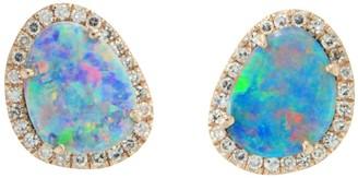Kamaria Diamond Opal Pebble Studs