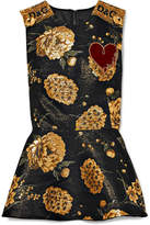 Dolce & Gabbana Appliquéd Embellished Brocade Peplum Top - Gold