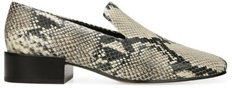Via Spiga Baudelaire Square-Toe Snakeskin-Embossed Leather Loafers