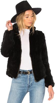 Adrienne Landau Knit Rabbit Zip Jacket