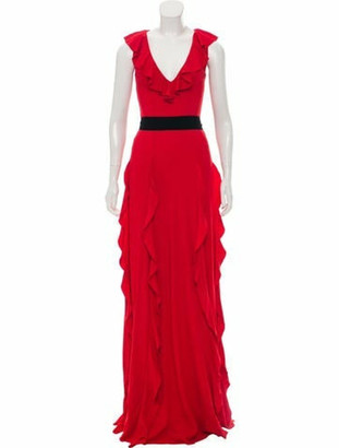 Gucci Ruffle-Trimmed Knit Gown Red