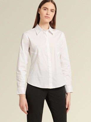 DKNY Donna Karan Women's Long-sleeve Button-up Blouse - White - Size M