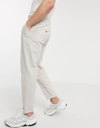 Jack and Jones Intelligence tapered linen mix pants in stone