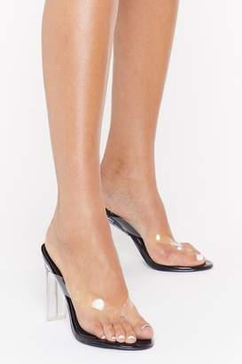 Nasty Gal Womens See Right Through Clear Thong Heels - black - 3