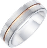 Ernest Jones Titanium & Rose Gold Plated Matt Groove Band