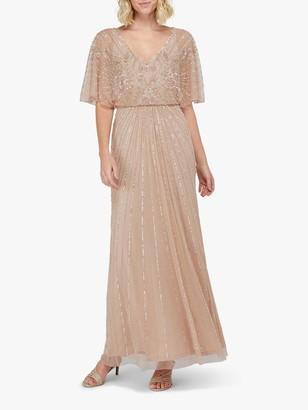 Monsoon Tabitha Embellished Maxi Dress, Pink