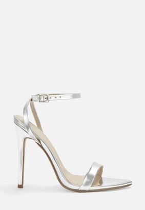 Missguided Silver Pointed Toe Barley There Heels