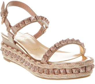 Christian Louboutin Pira Ryad 60 Glitter Leather Wedge Sandal