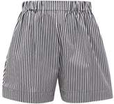 Hillier Bartley Logo-embroidered Striped-cotton Poplin Shorts - Womens - Black White