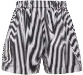 Hillier Bartley Logo Embroidered Striped Cotton Poplin Shorts - Womens - Black White