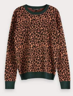 Scotch & Soda Leopard Cotton Pullover - cotton | brown | Green/Brown | medium - Brown/Brown
