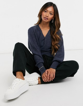 Y.A.S wrap jumper with deep waistband and open back in navy