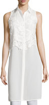 Romeo & Juliet Couture Sleeveless Woven Tunic Top, Ivory