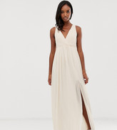 TFNC Tall Tall bridesmaid exclusive pleated maxi dress with back detail in pink