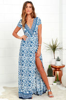 LuLu*s French Doors Ivory and Blue Floral Print Wrap Maxi Dress