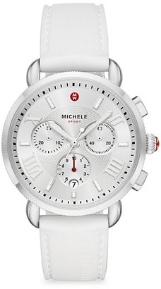 Michele Sport Sail Stainless Steel & Silicone Strap Chronograph Watch