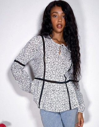 JDY smock blouse with contrast trims in white floral